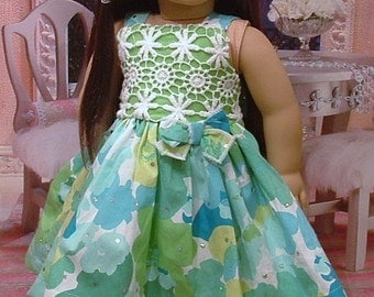 Blue Green and White Party Dress and Headband for American Girl