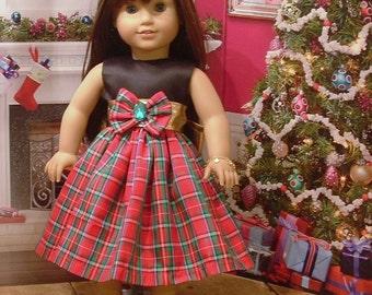 Red Plaid Taffeta Holiday Dress for American Girl Dolls