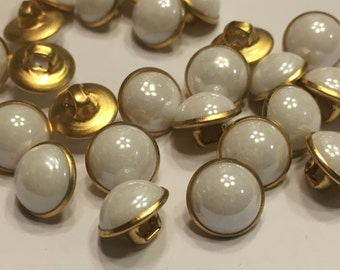 10 metal pearl white shank buttons, 11 mm (B 13)