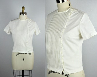 Vintage White Blouse Side Button Asymmetrical Side Button Down with Pearls Buttons Pleated 60s 70s Boho Summer Beach Festival size S - M