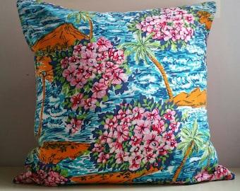 "18"" Cushion or Pillow - Vintage 1970s Hawaiian Fabric"