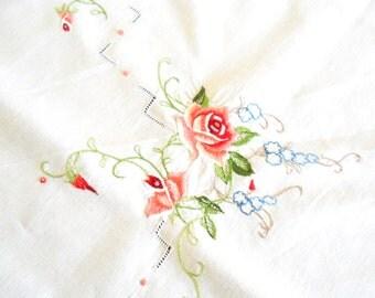 vintage embroidered tablecloth vintage white tablecloth floral tablecloth embroidery salmon roses