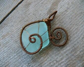 Wire wrapped pendant, genuine sea glass pendant, aqua sea foam, sea glass jewelry, Birthday gift, brown copper wire, sea stone
