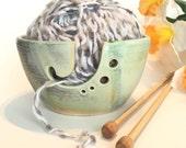 Yarn Bowl, Yarn organizer, Knitting bowl, winter green glaze,knitting gift, ready to ship, made in the usa