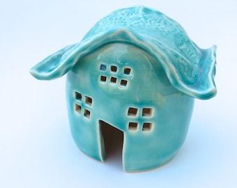 Tea Light, Frog House, Gnome House, Japanese Garden, Pagoda Style, Ceramic Stoneware-3 colors available