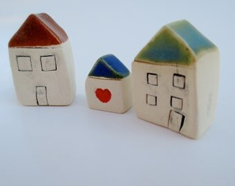 Set of 3  Miniature Clay Houses