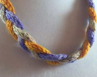 Braided choker, yarn jewelry, knit jewelry, purple and orange, i-cord necklace, sunset on a beach, jewelry for knitters, braided choker