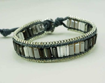 Grey crystal wrap bracelet.