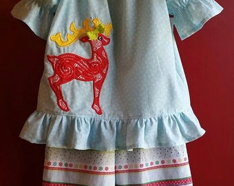 SAMPLE SALE Reindeer Christmas Two Piece Outfit - Blue Peasant Top and Ruffled Pants Girls 5-6
