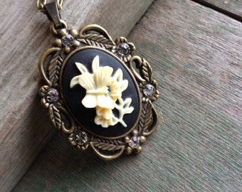 Butterfly Cameo Necklace/Victorian/Edwardian /Choker
