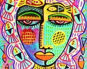 Mermaid Fish Woman )( SILBERZWEIG ORIGINAL PAINTINGS Raw Brut Folk Tribal-Fish, Animals, Creatures, Masks, Goddess, Spiritual, Queen, Wisdom