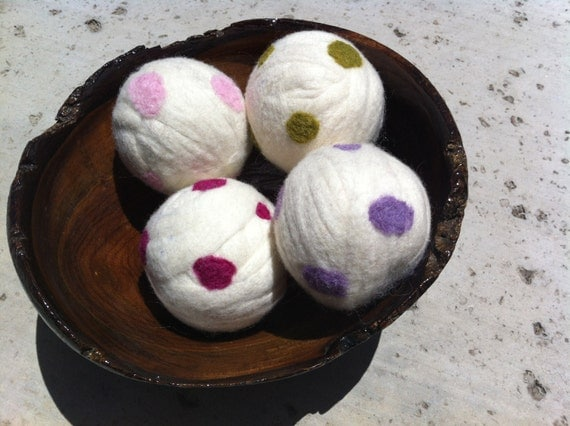 2 XL Organic Wool Dryer Ball - Rainbow Freckles - Extra Large, Uncented or Scented w/ Essential Oil for Free (30 Scents) Set of Two Balls