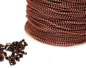 15ft Copper Red Ball Chain-1.5mm-connectors inculded