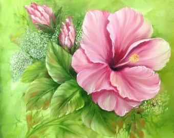 Sale - Pink Hibiscus 12 x 12 inch deep box Canvas Oil Painting