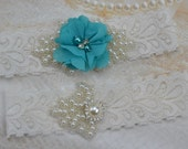 Wedding Garter- Bridal Garter Set,White Lace Garter- Teal Garter Set