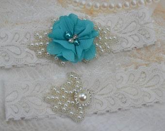 Wedding Garter Set- Bridal Garter Set,Vintage Wedding-White Lace Garter- Teal Garter Set-Pearl Garter Set