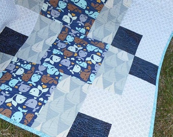 Whales Sailboats Baby Quilt Play Mat Waves Batiks Toddler Quilt