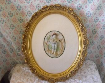 VntgeAndrew Kolb & Son Wall Art, Porcelian Figurine \Frame Wall Hanging / Ornate  Figural Porcelain Plaque Gold Wood Oval Frame Silk -
