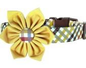 Fall Plaid Dog Collar and Flower; Orange, Brown, Yellow Thanksgiving Dog Collar Flower Set: Harvest Plaid