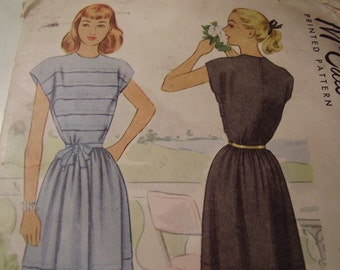Vintage 1940's McCall 7284 Dress Sewing Pattern, Size 12, Bust 30