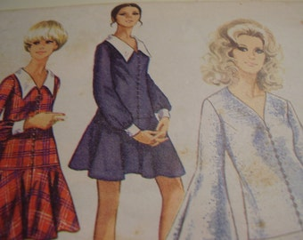 Vintage 1960's Simplicity 8287 Dress Sewing Pattern, Size 10, Bust 32 1/2