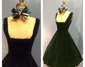 RESERVED~ 1950's Vintage 1950s Button Down Midnight Black Velvet Flat Bow Shelf Bust Cocktail Party Dress w Paper Backed Full Skirt Xs S