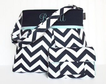 Personalized Chevron Diaper Bag in Navy Blue and Mint with Changing Pad Boy or Girl