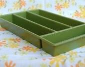 Resserved Listing.Avocado green drawer organizer. 1970s silverware tray. Avocado green desk organizer
