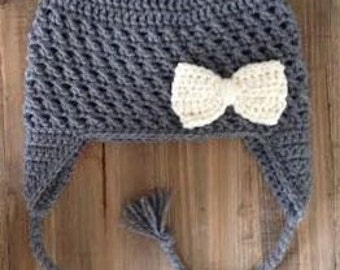 Dark Gray Earflap Hat with Cream/Ivory Bow, Baby Girl Hat, Toddler Girl Hat