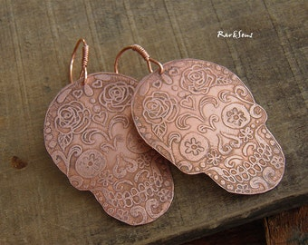 Tribal earrings-Rustic earrings-Ethnic earrings-Handcrafted pendant-pendant copper-skull-sugar skull-engraved copper-Day of the dead earring
