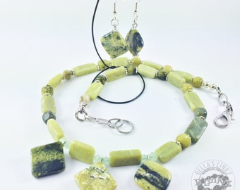 Yellow Turquoise & Olive Jade Necklace and Earring Set