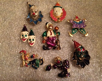 GENERAL CRAFTS - Metal Painted Clown Pieces for Arts, Jewelry, and Crafts Projects (8 pcs.)