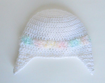 9 12 15 18 24 Months Baby To Adult Female  White Hat With Earflaps 2 3 4 5 Years Toddler Preteen Girl Winter Cap Fall Beanie Ready To Ship