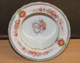Vintage Porcelain Cauldon England Souvenir Aqua Pattern Butter Dish - Trinket Dish -Condiment Dish -Shabby Chic- Cottage Chic- Collectibles