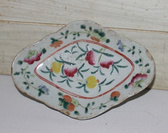 Antique Chinese Famille Rose Footed Dish -Hand Painted Porcelain- Diamond Shape- Fencai- Nonya Ware- Vintage Chinese Porcelain- Collectibles