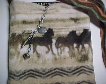 """Crossbody Hipster Bag  Reversible Washable """"WILD HORSES """"  Sling Purse with Keychain / Bagcharms"""