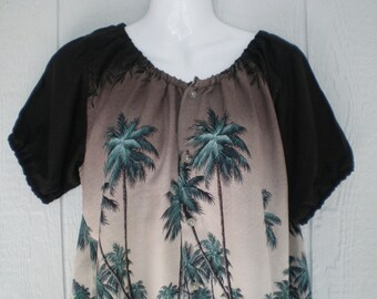 """Peasant Blouse upcycled from a men's shirt, 46"""" chest, ladies medium, tropical hawaiian print, rayon blouse"""