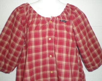 "Cotton Peasant Blouse upcycled from a men's shirt, 52"" ladies XL, red and beige plaid, tunic shirt, maternity shirt, loose shirt, casual"