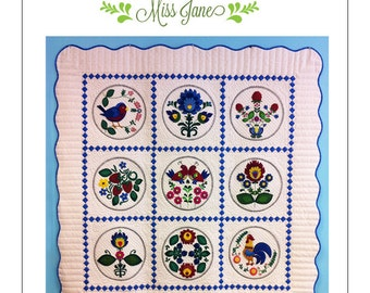 "PATTERN: Panna Yana Wool Applique Quilt 60"" x 60"""