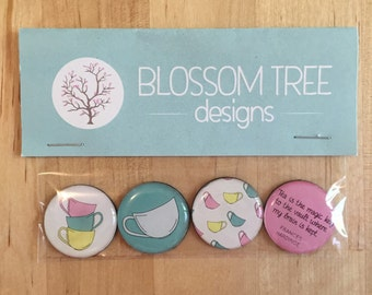 Set of 4 Tea Time Magnets. Fridge Magnets.