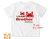Little brother shirt Crab Tshirt - Personalized Little brother Shirt or Bodysuit - 047_BB_2C_crab