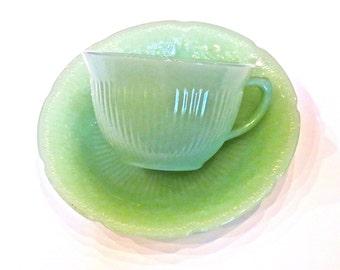 Fire King Tea Cup and Saucer Jadite Alice Pattern Vintage Jadite Green Restaurantware