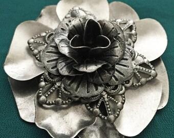 Silver Flower Steampunk Filigree Hair Clip