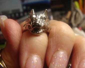 Wolf Ring - Nickel, sz 7-10 grms-face is 20X18mm 1575