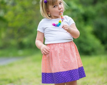 Toddler girl's trendy skirt - orange and purple skirt - Handmade modest simple skirt - Girl's fashion clothes - Kids clothes - Size 3