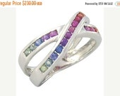 Valentines Day Sale Multicolor Rainbow Sapphire Crossover Ring 925 Sterling Silver : sku 470-925