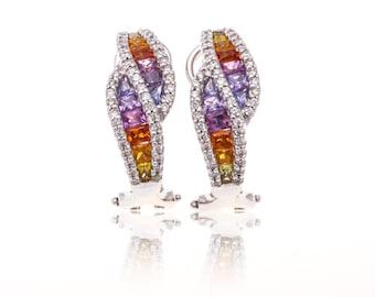 Multicolor Rainbow Sapphire & Diamond 18K Gold Earrings (4.37ct tw): SKU 22661