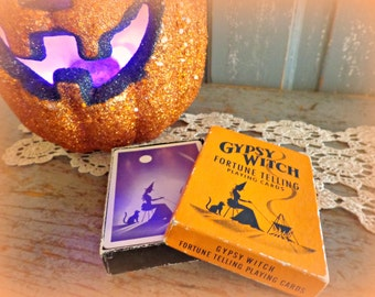 gypsy witch fortune telling playing cards, halloween ephemera, vintage halloween, fortune telling cards, occult, spirituality, samhain