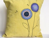 Sunshine Yellow Flower Appliqued Pillow