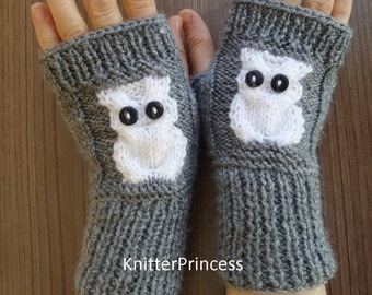 Gray owl gloves, gray gloves with white owls, winter gloves, mens gloves, knit owl armwarmers,